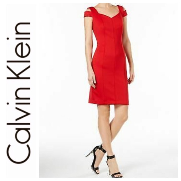 e22ee209 Calvin Klein Dresses | Sale Red Cold Shoulder Sheath Dress | Poshmark